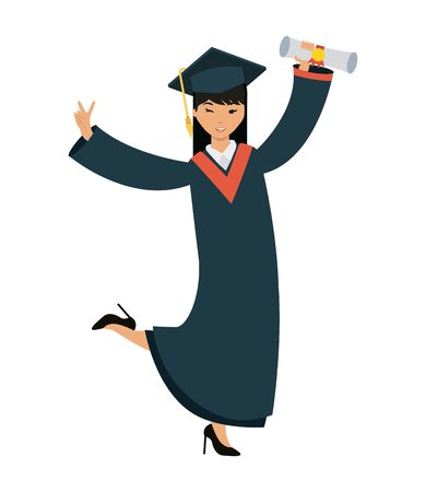 cartoon happy woman graduate holding a diploma over white background. colorful design. vector illustration Illustration