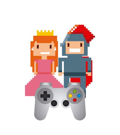 pixel princess and knight videogame characters over white background. vector illustration