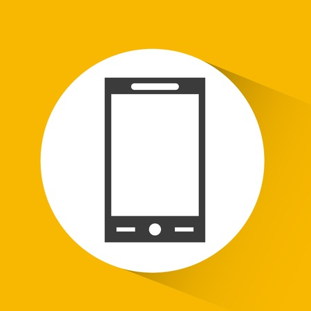 smartphone device icon over white circle and yellow background. vector illustration