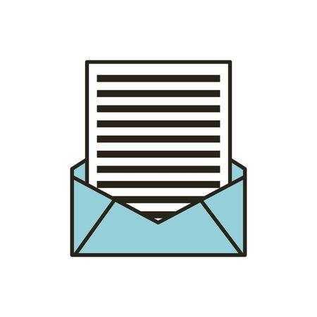 e-mailenvelop met brief over witte achtergrond. vectorillustratie Stock Illustratie