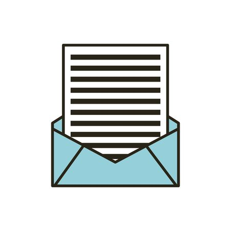 mail envelope with letter over white background. vector illustration