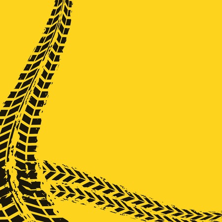 black wheel prints in yellow background. vector illustration Illustration
