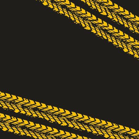 yellow wheel prints in black background. vector illustration