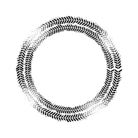 treads: black wheels prints in circle shape over white background. vector illustration