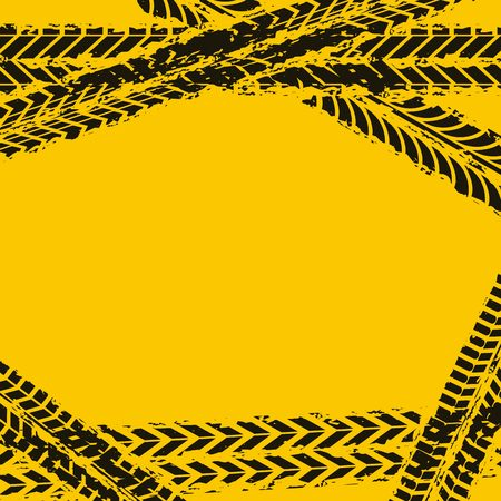 dirt bike: black wheel prints in yellow background. vector illustration Illustration