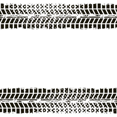 Wheel Prints In Black And White Colors Vector Illustration Royalty
