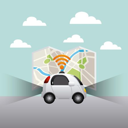 autonomous car vehicle with wireless waves over city map background. ecology,  smart and techonology concept. vector illustration Illustration