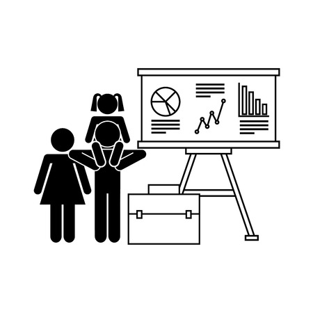 her: graphic charts and mother and dad with her daughter on his shoulders over white background. vector illustration Illustration