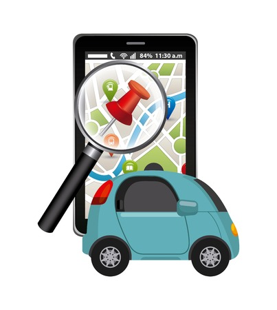 autonomous car vehicle and smartphone device with city map on screen. ecology,  smart and techonology concept. colorful design.  vector illustration Illustration