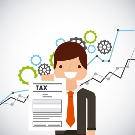 cartoon business man holding tax document over white background. tax time design. vector illustration