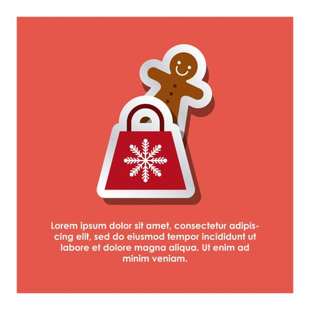 reb: red shopping bag and ginger cookie over reb background. merry christmas design. vector illustration Illustration