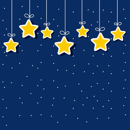 decorative yellow stars hanging over blue background. vector illustration