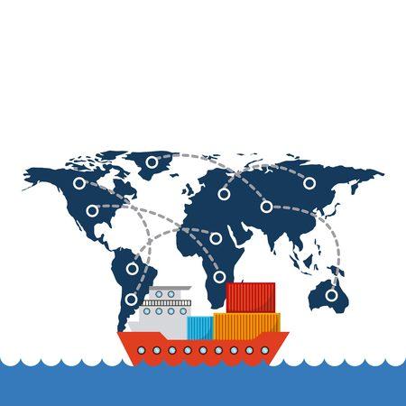 貨物はネットワーク背景を世界地図上でコンテナー船します。エクスポートおよびインポートの概念。カラフルなデザイン。ベクトル図