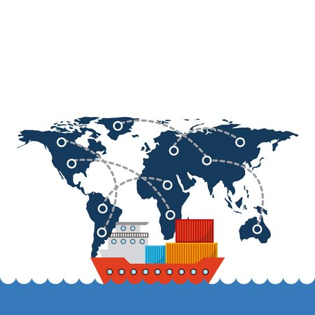 cargo ship with container over world map network background. export and import concept. colorful design. vector illustration Reklamní fotografie - 69134714