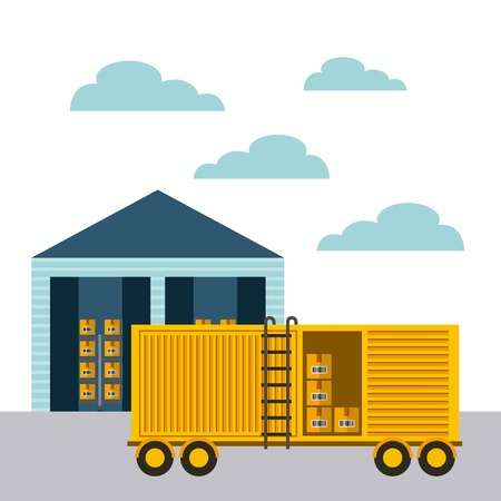 cargo truck and warehouse icon. import and export concept. colorful design.  vector illustration