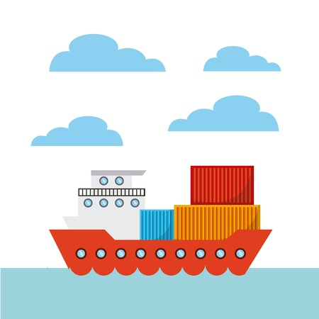 cargo ship with containers. export and import concept. colorful design. vector illustration