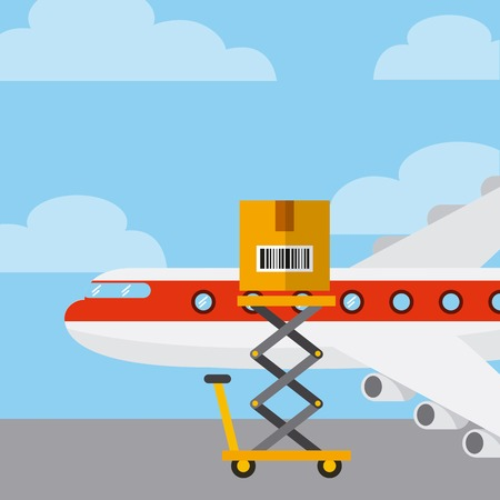 cargo airplane with carton box on the lift cart. export and import concept. colorful design. vector illustration Illustration