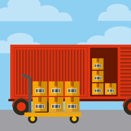 red container with carton boxes. export and import concept. colorful design. vector illustration