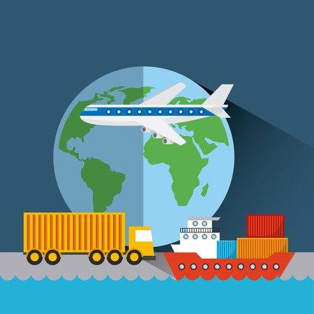 earth planet with cargo airplane, truck and ship. export and import concept. colorful design. vector illustration