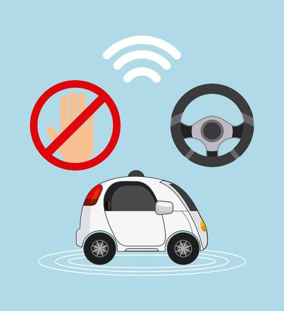 autonomous car vehicle with wireless and steering wheel icons over blue background. ecology,  smart and techonology concept. colorful design.  vector illustration Illustration
