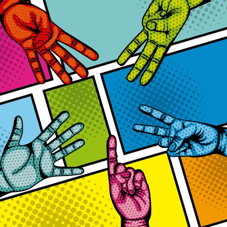 hands with numbers expression. comic and pop art concept. colorful design. vector illustration