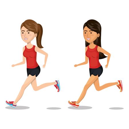 women running characters icon vector illustration design