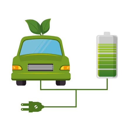 eco car leafs isolated icon vector illustration design