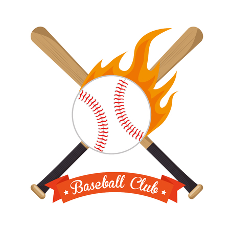 poster baseball crossed bats and ball stars vector illustration eps 10 Illustration