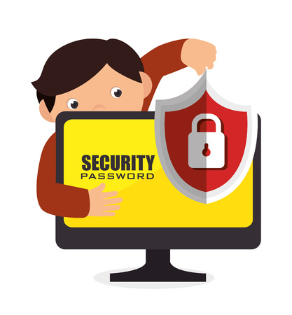 security technology: security system technology icon vector illustration