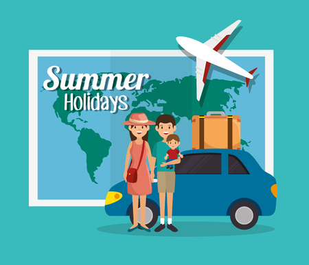 summer holiday: summer vacations holiday poster vector illustration design