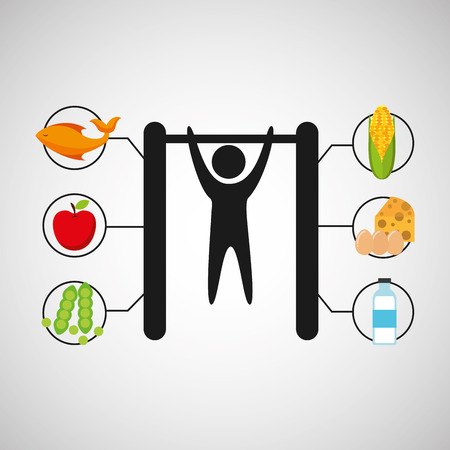 sport man gymnastics nutrition health vector illustration eps 10