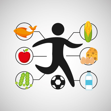 sport man soccer nutrition health vector illustration eps 10 Illustration