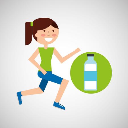 girl jogger bottle water healthy lifestyle vector illustration eps 10