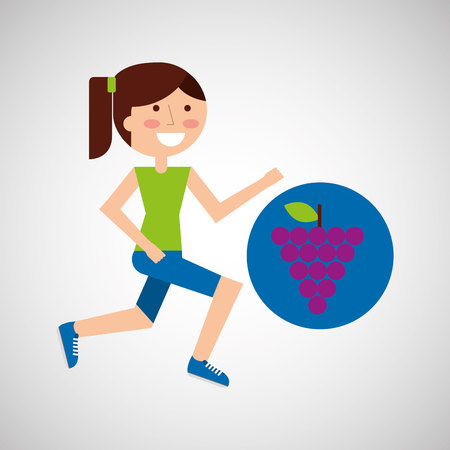 mixed race girl: girl jogger grape healthy lifestyle vector illustration eps 10