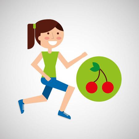 jogger: girl jogger cherry healthy lifestyle vector illustration eps 10