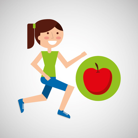 girl jogger apple healthy lifestyle vector illustration eps 10