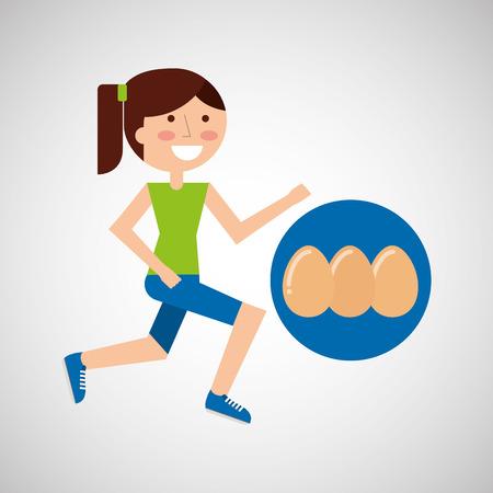 jogger: girl jogger eggs healthy lifestyle vector illustration eps 10