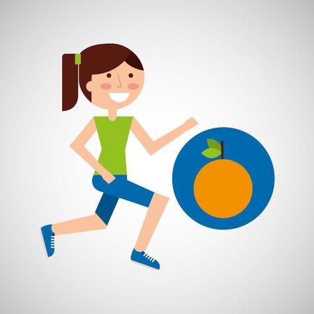 jogging in nature: girl jogger orange healthy lifestyle vector illustration eps 10
