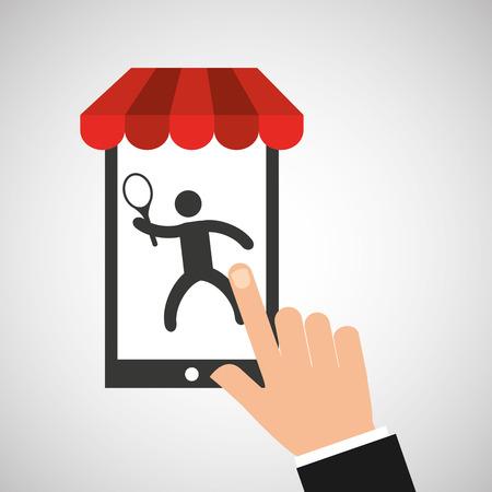 mobile phone silhouette sportman tennis vector illustration eps 10