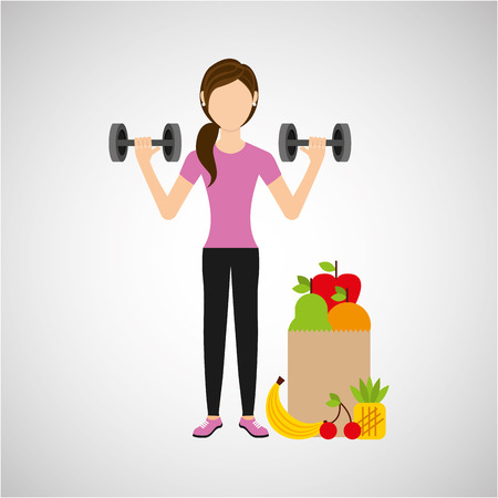 woman dumbbell exercising healthy food bag vector illustration eps 10