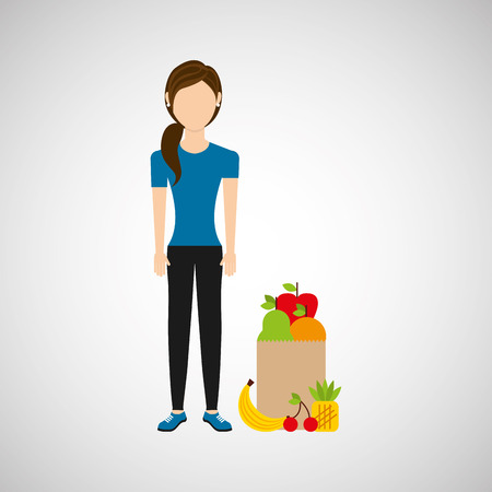 one girl only: woman exercising healthy food bag vector illustration eps 10 Illustration