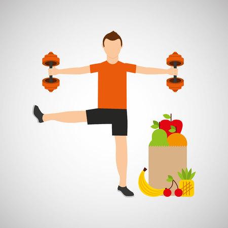 medical gloves: man weight exercising bag health food vector illustration eps 10