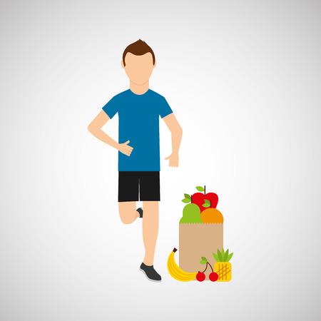 man run exercising bag health food vector illustration eps 10
