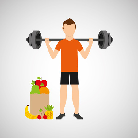 sportsmen: man heavy barbell exercising bag health food vector illustration eps 10
