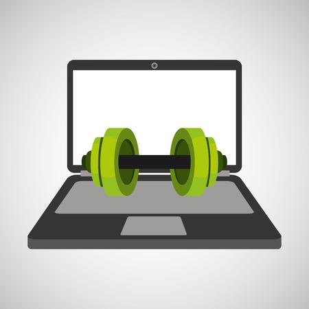 squat: sport laptop app concept barbell vector illustration eps 10