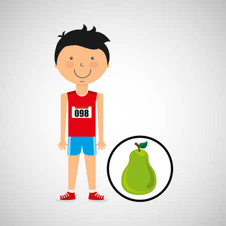 punching: cartoon boy athlete with pear vector illustration eps 10 Illustration