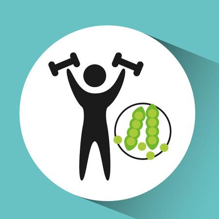 sport man weight lifting nutrition health vector illustration eps 10 Illustration