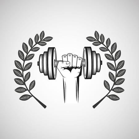 hand hold dummbell sport emblem laurel branch vector illustration eps 10