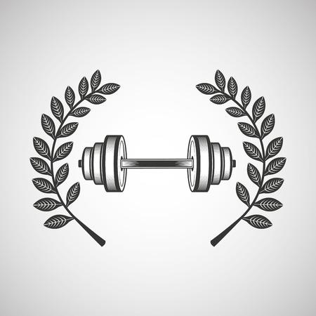 barbell sport emblem laurel branch vector illustration eps 10