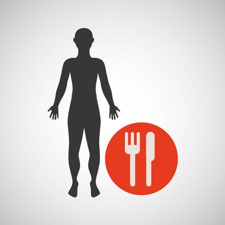 silhouette man fitness nutrition health vector illustration eps 10